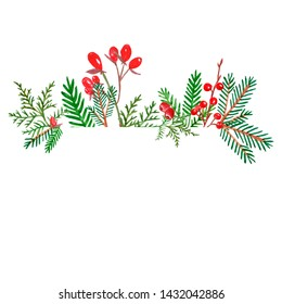 Watercolor Christmas frame with evegreen plants and red berries. Hand painted pine and spruce branches on white background. Winter Holiday decor for cards, invitations, banners.