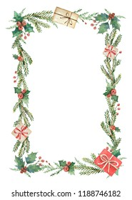 Watercolor Christmas frame with fir branches and place for text. Illustration for greeting cards and invitations isolated on white background.