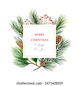Watercolor Christmas frame with fir branches and place for text. Illustration for greeting cards and invitations. Winter holiday background.
