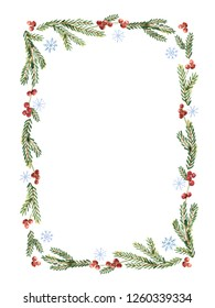 Watercolor Christmas frame with snowflakes, berries, fir branches and place for text. Illustration for greeting cards and invitations isolated on white background.