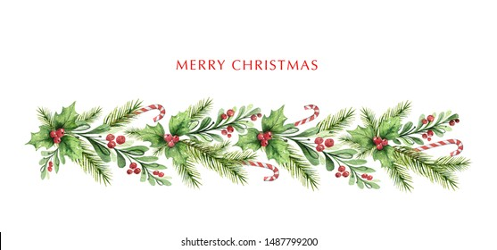 Watercolor Christmas garland with fir branches and red berries. Illustration for greeting cards and invitations isolated on white background.