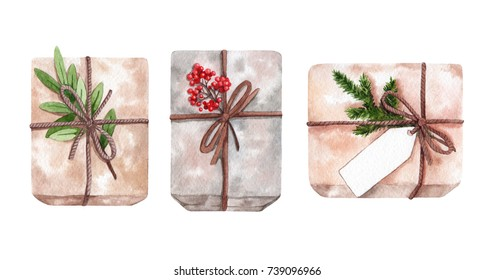 Watercolor christmas gifts