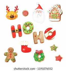 Watercolor Christmas gingerbread cookies set. Can be used as background for web pages, invitations, greeting cards, postcards, package design, textile design, patterns