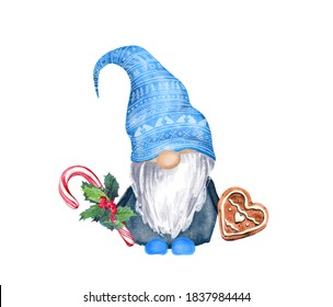 Watercolor christmas gnome in blue hat with gingerbread cookie and candycane with mistletoe. Cute cartoon character  scandinavian  dwarf