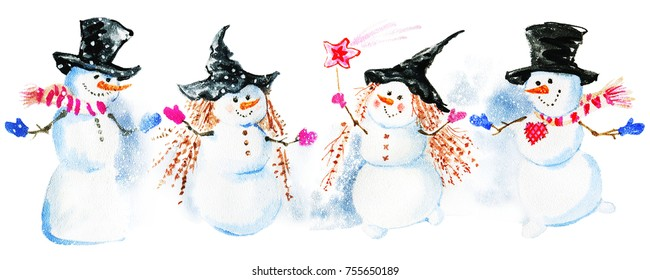 Watercolor Christmas greeting card with snowmen party and spruce branches. Hand drawn vintage illustration on white background
