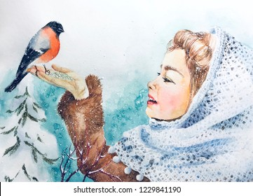 Watercolor Christmas greeting card with young girl is feeding bullfinch in the winter snowy forest. Poster for the New Year 2019 celebration. Handmade Xmas postcard with woman, bird and fir tree.