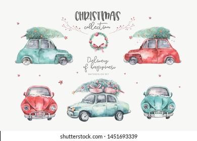 Watercolor christmas holiday card transportation illustration. Merry Xmas winter tree design. New year retro vintage cars
