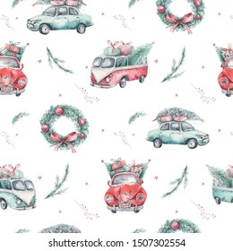 Watercolor christmas holiday seamless pattern with red and green transportation illustration. Merry Xmas auto winter design. Hand painted New year retro vintage cars wallpaper background