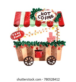 Watercolor christmas hot coffee cart new year green and red  isolated on white background