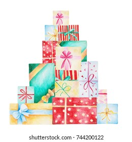Watercolor Christmas Illustration with gift boxes. For design, print or background.
