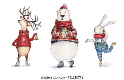 Watercolor Christmas illustration with hare, holiday deer and colorful bear. Christmas cards. Winter design. Merry Christmas!