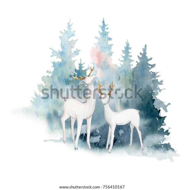 Watercolor christmas illustration. Perfect for christmas and new year cards, invitations. Illustration on white background.