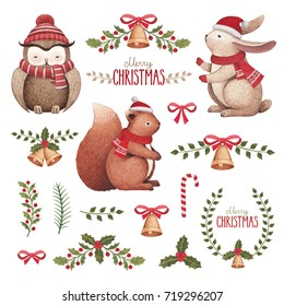 Watercolor christmas illustrations. Animals and christmas decorations