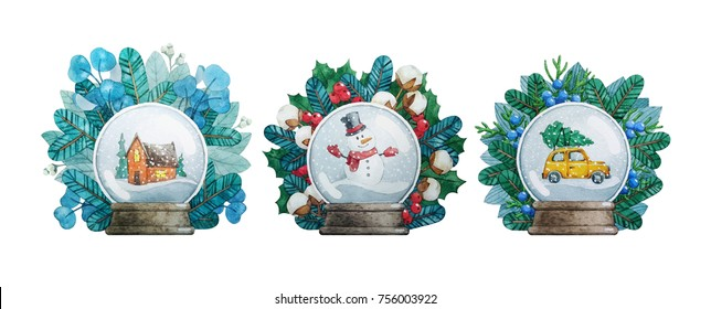 Watercolor Christmas illustrations with Snow Globes.