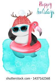 Watercolor Christmas panda bear swimming with flamingo float. Happy Holidays greeting card