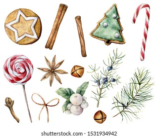 Watercolor Christmas pastry set. Hand painted candy cane, lollipop, cookies, juniper and snowberry isolated on white background. Holiday symbols. Illustration for design, print, fabric or background