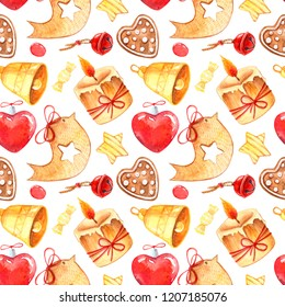 Watercolor Christmas pattern . Gingerbread bird and heart, bells, sweets and candels.Design for paper, background, celebrating card, poster, textile, wallpaper.