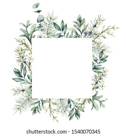 Watercolor Christmas plants card. Hand painted frame with juniper, snowberry, fir and eucalyptus branch isolated on white background. Floral illustration for design, print, fabric or background