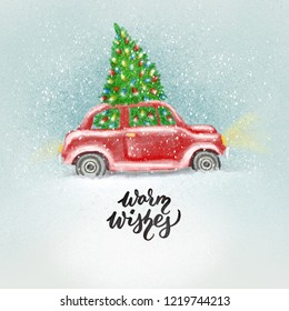 Watercolor Christmas red retro car, vintage beetle with Warm Wishes hand lettering. New Year illustation or greeting card.