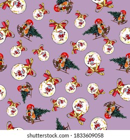 Watercolor Christmas seamless pattern with cute dwarves, Christmas balls isolated on a pink background. Festive ornament for wrapping paper, textiles and prints.