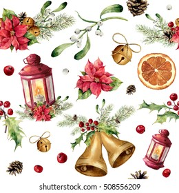 Watercolor christmas seamless pattern with decor and lantern. New year tree ornament with lantern, bell, holly, mistletoe, poinsettia, orange slice, pine cone and bow for design, print or background