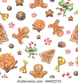 Watercolor Christmas seamless pattern with  gingerbread man, tree, dry orange, cinnamon. candies, cookies, chocolates, candy cane. Hand drawn.