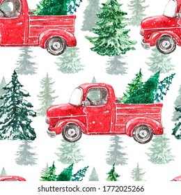 Watercolor Christmas seamless pattern with red truck and pine trees on white background. Winter print with hand drawn vintage car and holiday snowy tree. Forest illustration