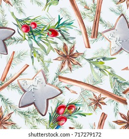 Watercolor Christmas seamless pattern. Repeating texture with winter objects: star anise, cinnamon sticks, glazed cookies, mistletoe, fir and berries branches. Wallpaper design