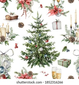 Watercolor Christmas seamless pattern with Christmas tree, gift boxes, candles and poinsettia. Hand painted holiday objects isolated on white background. Illustration for design, print or background.