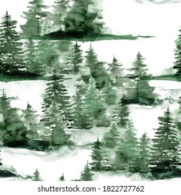 Watercolor Christmas seamless pattern with winter green forest. Hand painted fir trees and snow illustration isolated on white background. Holiday illustration for design, print, fabric or background.
