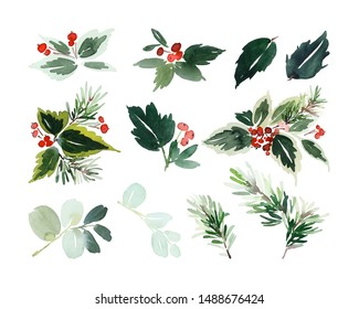 Watercolor Christmas set with branches, berries.