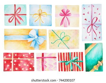 Watercolor Christmas set with gift boxes. Isolated Illustration for design, print or background.