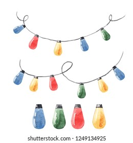 Watercolor Christmas set,  illustrations of colored garland with light bulbs