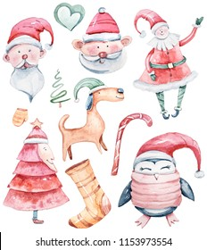 Watercolor Christmas set on white background. Bright cute illustration. Santa Claus, Christmas tree, penguin, dog.