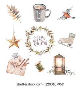 Watercolor Christmas set. Vintage isolated items: wreath, spices, star decoration, galden branch, wooden cotton reel, bullfinch bird, figure skate, cococa mug, lantern on white background.