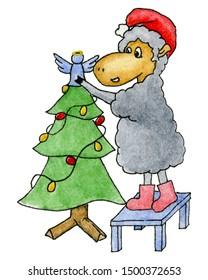 Watercolor Christmas sheep dad and Christmas tree with angel