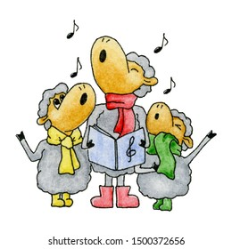 Watercolor christmas singing sheep in scarf and boots