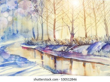 Watercolor Christmas snowy and sunny landscape.