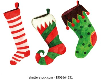 Watercolor christmas socks on a white background. Hand painted illustration.