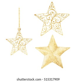Watercolor Christmas  stars. Christmas decorations, decorative elements. Hand drawn watercolor illustration