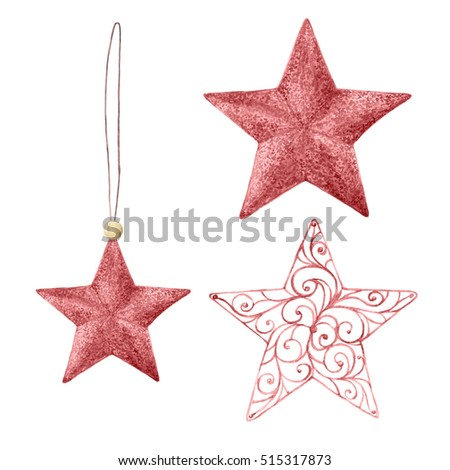 watercolor christmas stars christmas decorations decorative elements hand drawn watercolor illustration