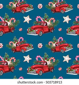 Watercolor Christmas Toy Model Truck loaded with sweets, spruce twigs, Holly leaves & berries seamless pattern on blue background. Christmas themed design. Hand drawn vintage illustration.