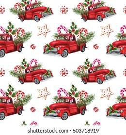 Watercolor Christmas Toy Model Truck loaded with sweets, spruce twigs, Holly leaves & berries seamless pattern on white background. Christmas themed design. Hand drawn vintage illustration.
