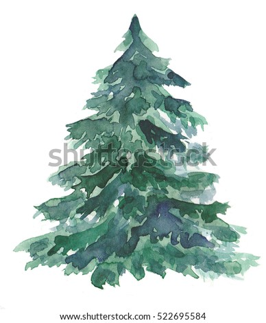 Watercolor Christmas tree - Royalty Free Stock Illustration Of Watercolor Christmas Tree Stock