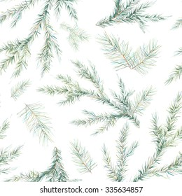Watercolor Christmas tree branches seamless pattern. Hand painted texture with fir-needle natural elements isolated on white background. Winter wallpaper