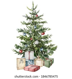 Watercolor Christmas tree with gift boxes and toys. Hand painted New Year tree with Christmas ball isolated on white background. Holiday illustration for design, print, fabric or background.