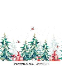 Watercolor Christmas tree and gift boxes seamless ornament. Hand drawn holiday repeating border on white background. Winter illustration