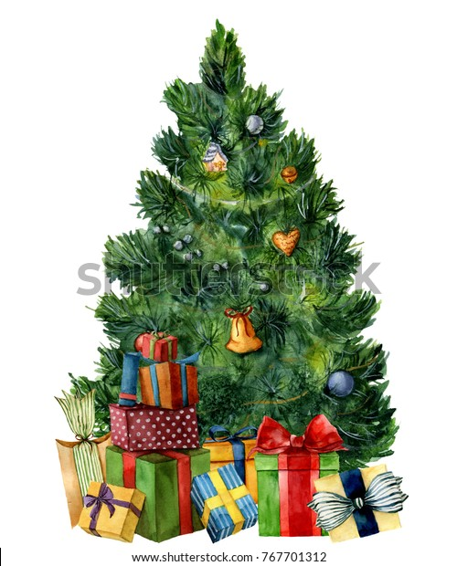 Christmas Tree With Presents.Watercolor Christmas Tree Giftboxes Hand Painted Stock