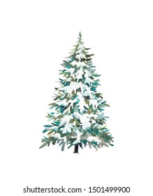 Watercolor Christmas tree. Holiday card with snow covered tree isolated on white background.