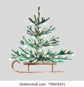 Watercolor Christmas tree on a sled